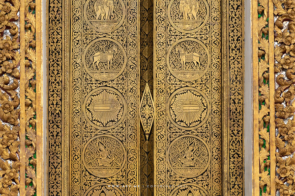 Gold and Black Lacquer Door, Phra Ubosot, Wat Somanas