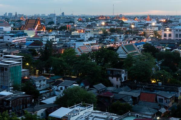 Cityscape of Bangkok view from PhuKhao Thong, Wat Saket