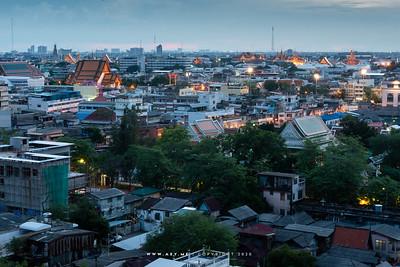 Cityscape of Bangkok, view from Phukhao Thong, Wat Saket