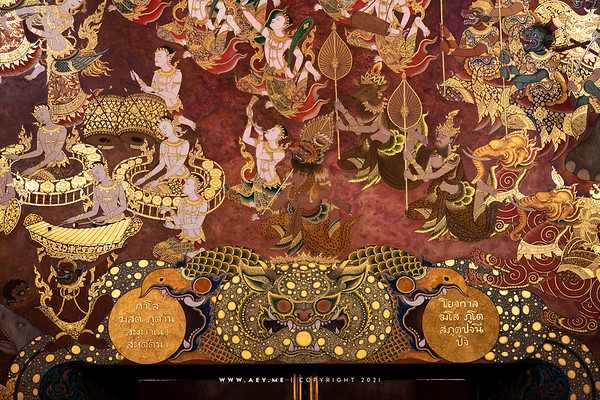 Mural Painting, Phra Ubosot, Wat Tri Thotsathep
