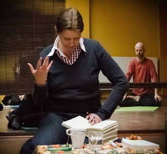 Daniela Hartmann interpreting during Dolpo Tulku Rinpoche semina
