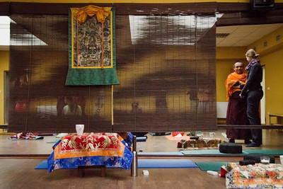 Break time during Dolpo Tulku Rinpoche seminar, Prague December 2013.