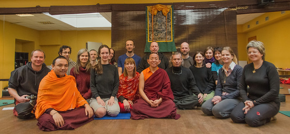 Attendants of Dolpo Tulku Rinpoche teaching, Prague December 201