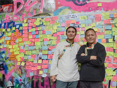 Tibetan musicians Jhola Techung and Rinzing Wangyal - Lennon wall,  Prague 2014