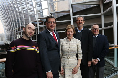 From left to right in producing team photos – Jay Wahl (Artistic Director, Programming and Presentations, Kimmel Center), Ed Cambron (Executive Vice President, Kimmel Center), Anne Ewers (President & CEO, Kimmel Center), Alex Fraser (Producing Director, Bucks County Playhouse), and Michael Traupman (Marketing Director, Bucks County Playhouse)