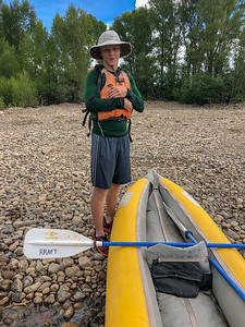 Ian and Ducky on Gunnison riverbank that we helped plant Willows and Cottonwood trees. 7/21/18