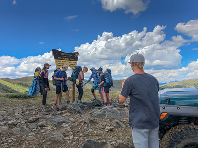 A group of kids backpacking. On their way to Twin Lakes. Big hike! Tincup Pass. 7/22/18