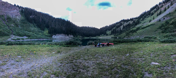 Evening pizza picnic with Greg Saunders and crew at Emerald Lake above Gothic, CO. 7/21/18