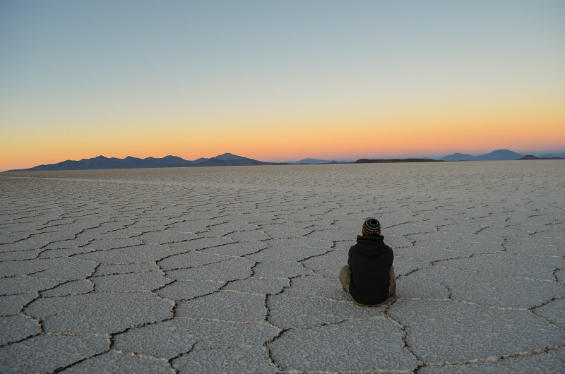 Matt enjoys the sunrise at Salar de Uyuni (salt flats)