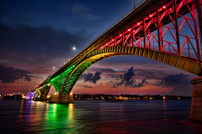 Peace Bridge Rainbow Lights at Night - Buffalo NY