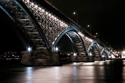 Peace Bridge at Night (Blue Accent) - Buffalo NY