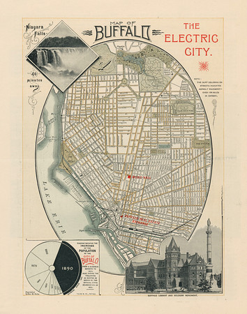 Map of Buffalo, The Electric City, 1890