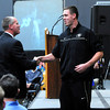 "CUSIGNING<br /> Shane Harris-Tunks, a player with the University of Colorado's basketball team, introduces head coach Tad Boyle at a press conference announcing the new recruits for the men's and women's basketball teams and the volleyball team. For more photos, see  <a href=""http://www.dailycamera.com"">http://www.dailycamera.com</a>.<br /> <br /> Photo by Marty Caivano/Nov. 9, 2011"