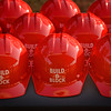 Hard hats at the Build-A-Block Habitat for Humanity project kick-off ceremony in South Raleigh.