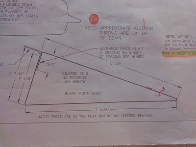 Plans: edge view of the aileron ... note throw angles