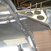 """Charles Snyder: Rudder pushrods and linkage just behind the seat intersecting Bulkhead """"C"""""""
