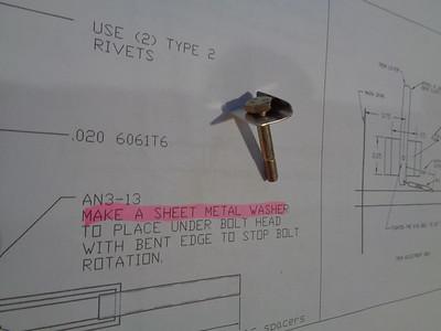 Bent anti-rotation washer required under pivot bolt.