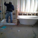 Installing the bathtub & shower floors