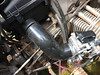 The new air box is installed, here you can see how the intake air tube that comes with this air box is to short, when on the carb it doesn't fit onto the air box.
