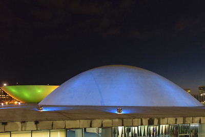 Domes of the Senate and the House of Representatives, National Congress, Brasilia. Oscar Niemeyer, architect.