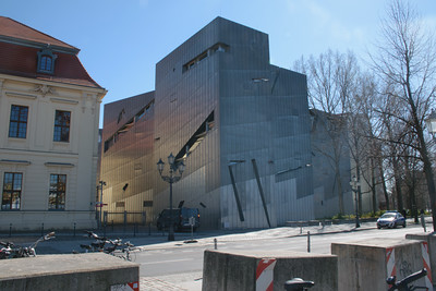 Jewish Museum Berlin (modern extension). Daniel Libeskind, architect. EDITION NOTE: sunlight flare on the building was digitally de-emphasized.