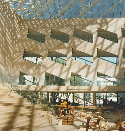 City Hall Construction - workers are putting the finishing touches on Edmonton's new city hall, in preparation for Sunday's official opening. The walls of the public areas have been cut open to let in plenty of light.