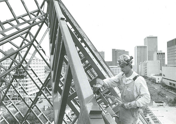 Wayne Donecz an iron worker for Walward Steel Fabricators helps put together the pyramid that will top Edmonton's new city hall building when it opens next year.  Sept 13/91