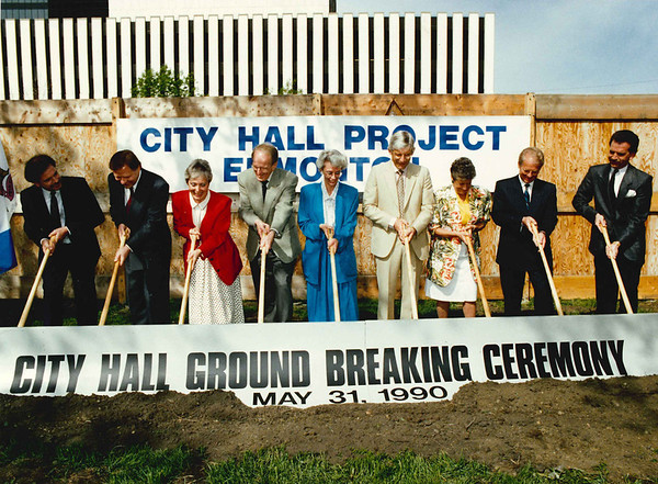 From left to right are:<br /> <br /> Bob Walker - Project Manager<br /> Gene Dub - Architect<br /> Alderman Pat McKenzie<br /> Alderman Bruce Campbell - Chair, City Hall Building Committee<br /> Mayor Jan Reimer<br /> Richard Picherack, City Manager<br /> Alderman Helen Paull