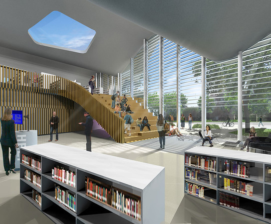 Jasper Place Edmonton Public Library Branch<br /> <br /> Architect's Renderings: Interior<br /> <br /> (Prime Consultants: DUB Architects and Hughes Condon Marler Architects)<br /> (Project and Construction Management: Stuart Olson Dominion)