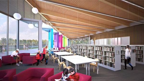 The Meadows Community Recreation Centre & Edmonton Public Library<br /> <br /> Architect's Renderings: Interior Library<br /> (Prime Consultants: Group2 Architecture Engineering Ltd. and Shore Tilbe Perkins + Will)