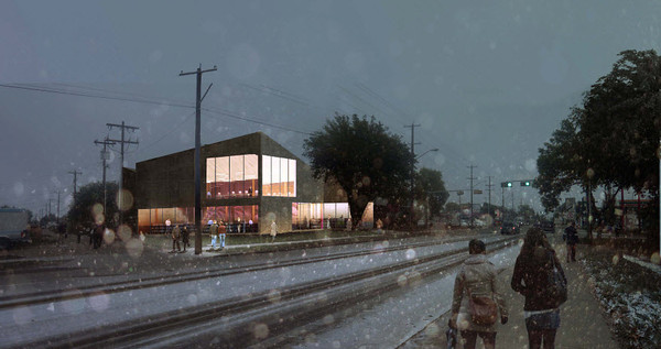 Highlands Edmonton Public Library Branch<br /> <br /> Architect's Renderings: Exterior<br /> <br /> (Prime Consultants: Marshall Tittemore Architects and Schmidt Hammer Lassen Architects)