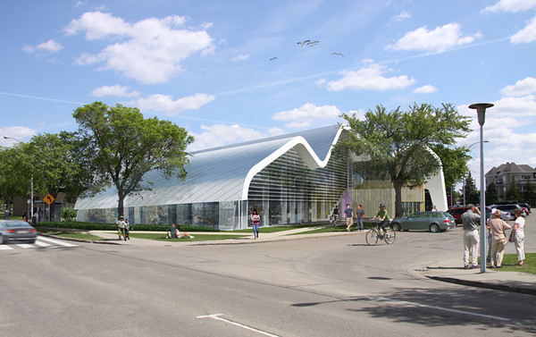 Jasper Place Edmonton Public Library Branch<br /> <br /> Architect's Renderings: Exterior<br /> <br /> (Prime Consultants: DUB Architects and Hughes Condon Marler Architects)<br /> (Project and Construction Management: Stuart Olson Dominion)