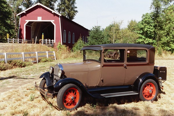 Vintage Car and Covered Bridge.