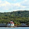 Tugboat behind Esopus lighthouse on the Hudson River 8-2011