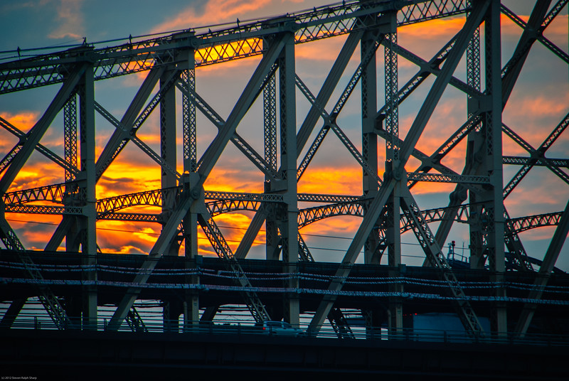 """The Koch Queensboro Bridge, otherwise known as the 59th Street Bridge and the namesake of the Simon and Garfunkle song, """"The 59th Street Bridge Song"""", as seen from 55th Street."""