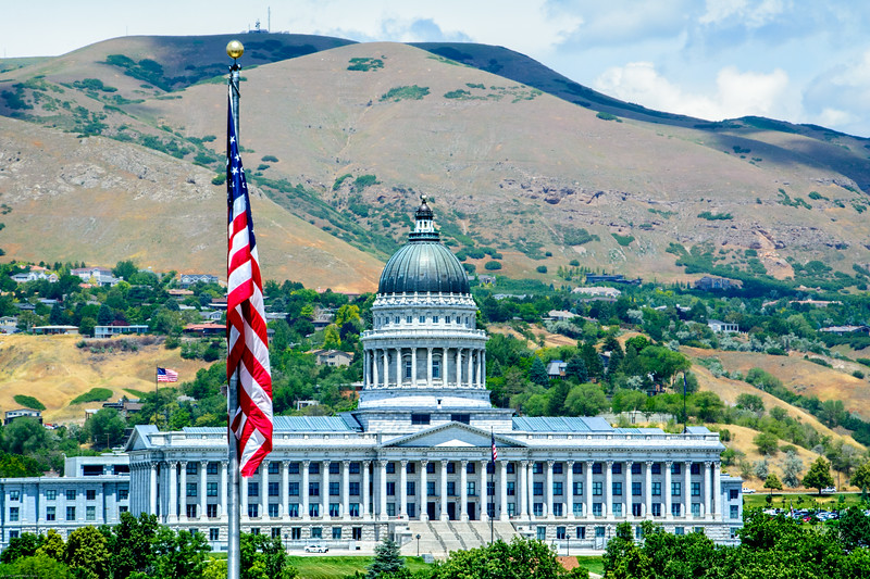The Utah Capitol as seen from the 17th Floor of the Zions Bank Building