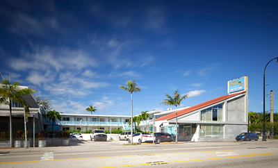 MIAMI - FEBRUARY 1, 2017: Long exposure photo of the Biscayne Inn Motel located at 6730 Biscayne Blvd.