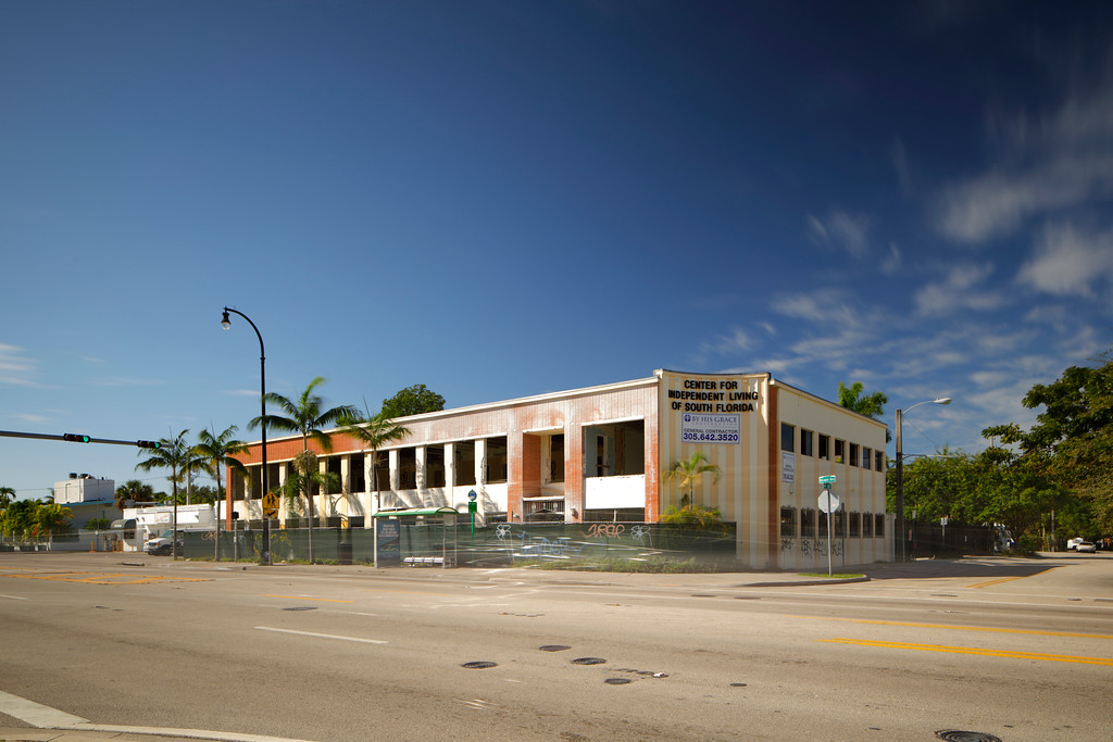 MIAMI - FEBRUARY 1, 2017: Stock photo of a commercial building under demolition and reconstruction located at Biscayne Boulevard and 67th Street.