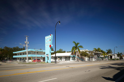 MIAMI - FEBRUARY 1, 2017: Long exposure photo of Motel South Pacific located at 6300 Biscayne Boulevard and was recently converted into commercial business space.