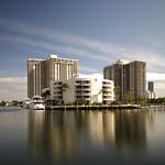 Long exposure image of luxury condos and yachts at Aventura FL, USA