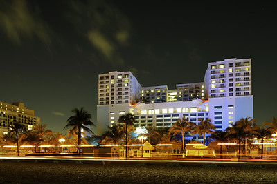 HOLLYWOOD - JANUARY 31,2017: Night timelapse photo of the Margaritaville Beach Resort located at 1111 North Ocean Drive.