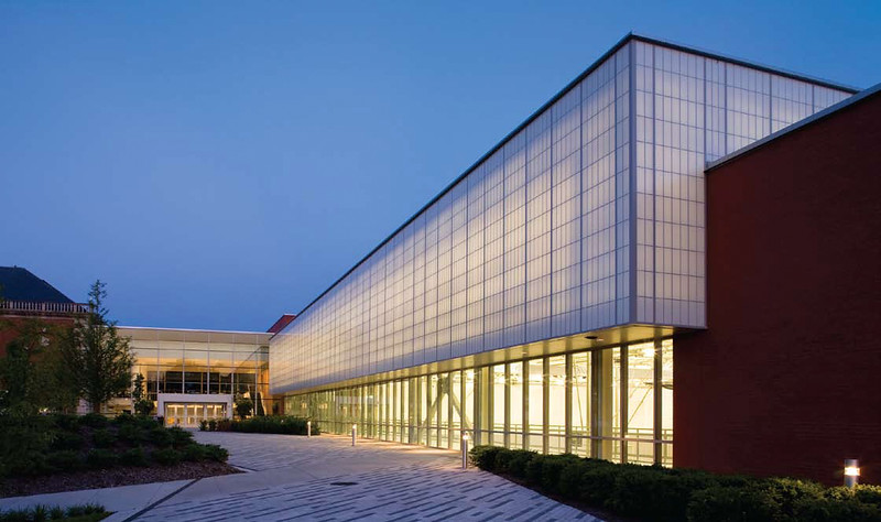 The Center for Recreation and Sports is beautiful in the twilight hours.