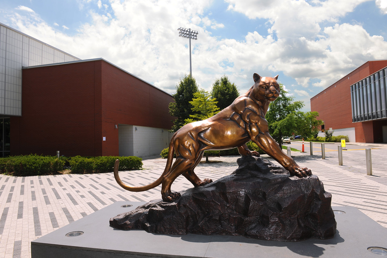 The Panther Statue stands guard.