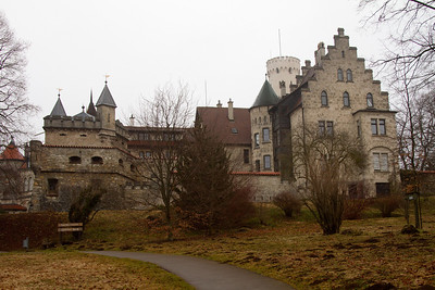 Schloss Lichtenstein Castle -  is situated on a cliff located near Honau in the Swabian Alb, Baden-Württemberg, Germany