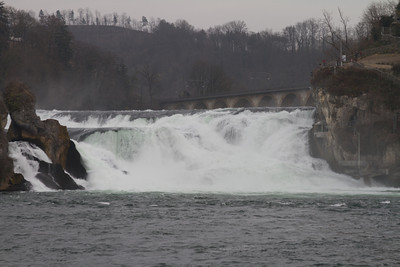 The Rhine Falls (Rheinfall in German) are the largest plain waterfalls in Europe.  The falls are located on the High Rhine between the municipalities of Neuhausen am Rheinfall and Laufen-Uhwiesen, near the town of Schaffhausen in northern Switzerland