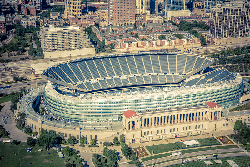 Aerial view of Soldiers Filed Stadium