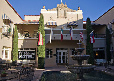 The couryard at the El Paisano Hotel in Marfa.  Our room was the one on the second floor on the far left.  The El Paisano has a great gift shop.