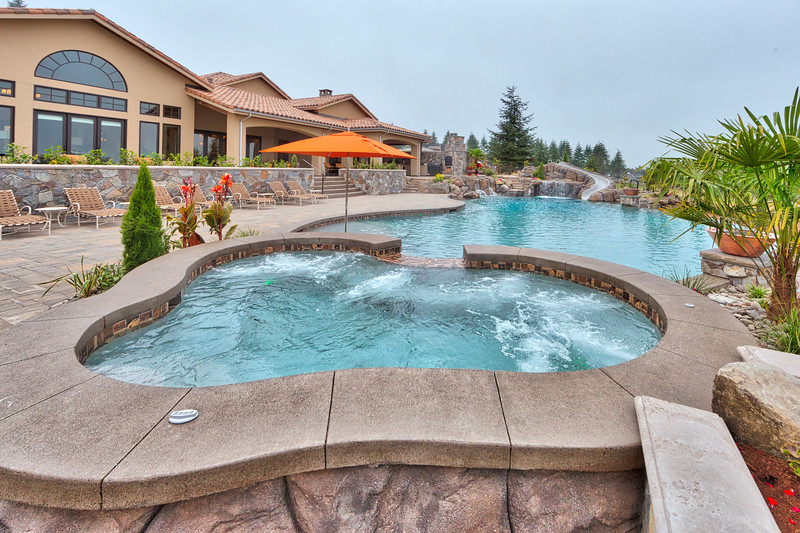 Tuscan style pool area