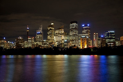 "Sydney City skyline at night from ""Lady Macquarie's Chair"""