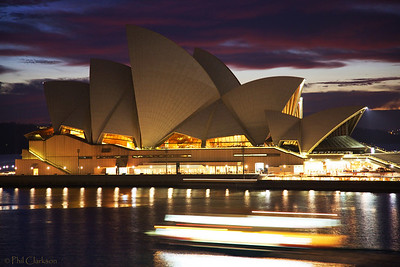 "Sydney Opera House - Vivid Sydney Festival ""Lighting the Sails"" May 26, 2009. At Dawn (no coloured lights). Ferry moving in foreground."